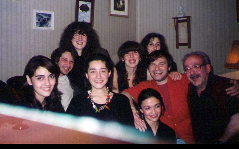 At home, with his students, pianist Alexander Korsantia, and his daughter Natalia (second and third from right)
